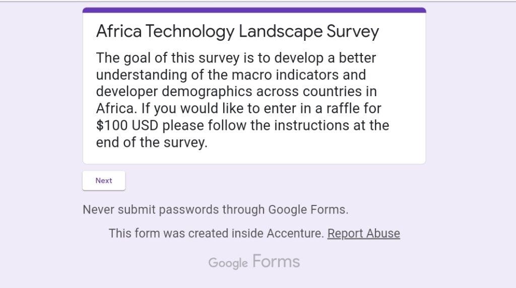 Win 100 dollarsAfrican Technology Landscape Survey