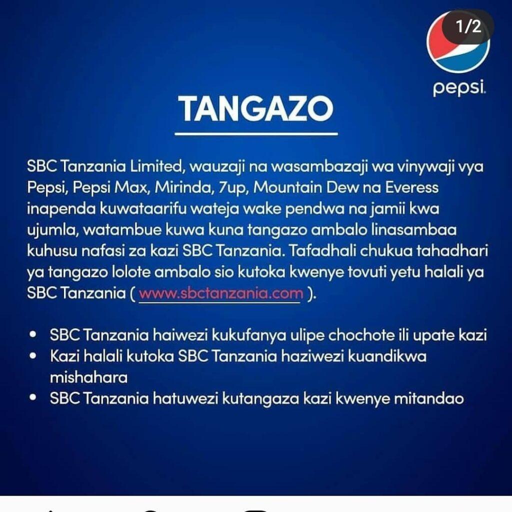 Pepsi Jobs Tanzania