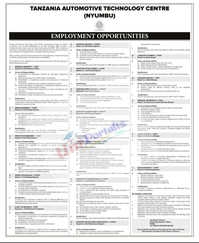36 Job Vacancies At Tanzania Automotive Technology Centre (TATC)