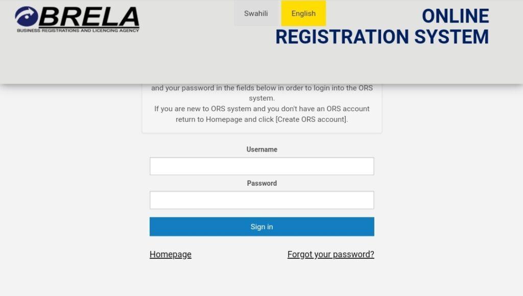 BRELA online registration System