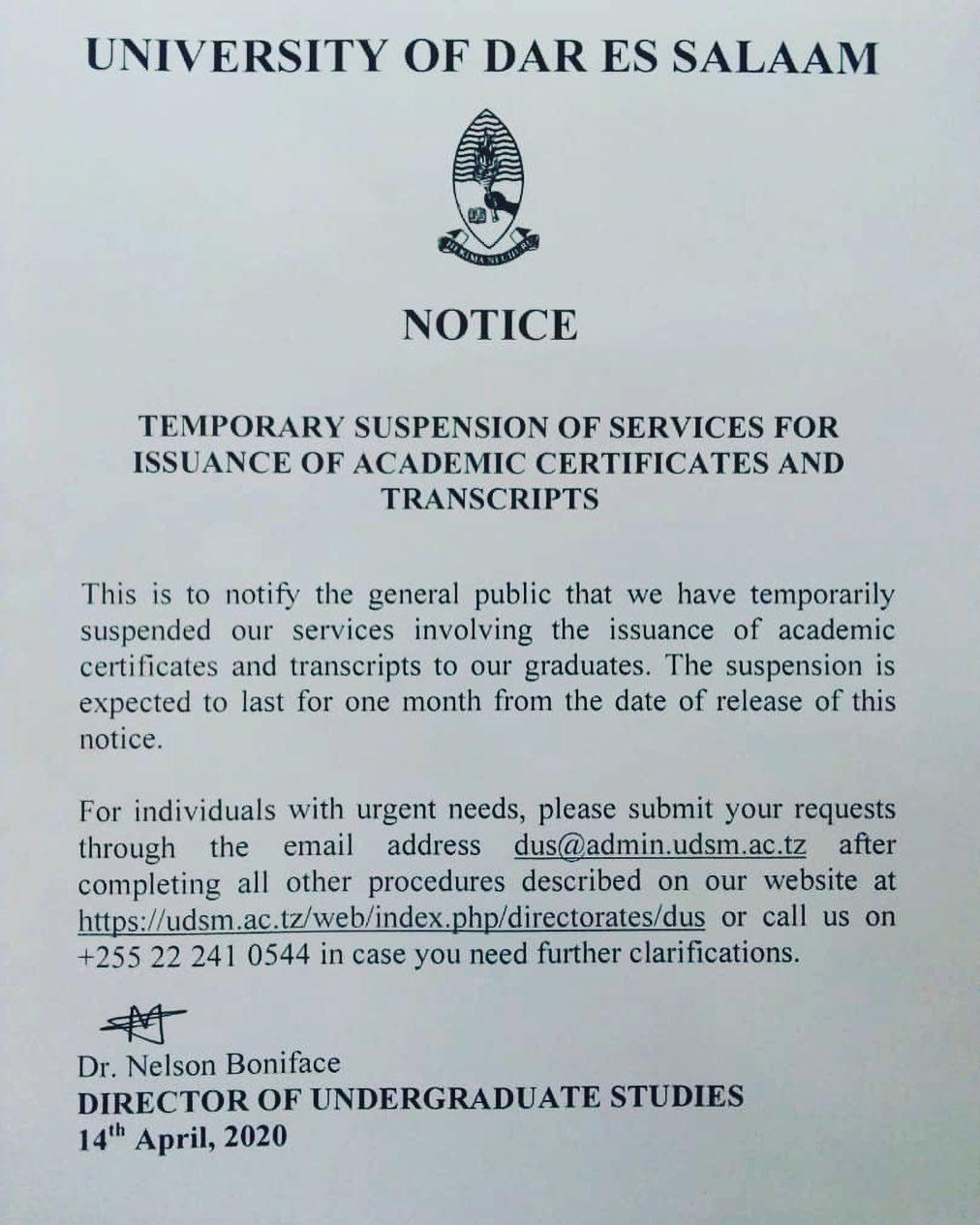 UDSM Announcement Temporary Suspension Of Services