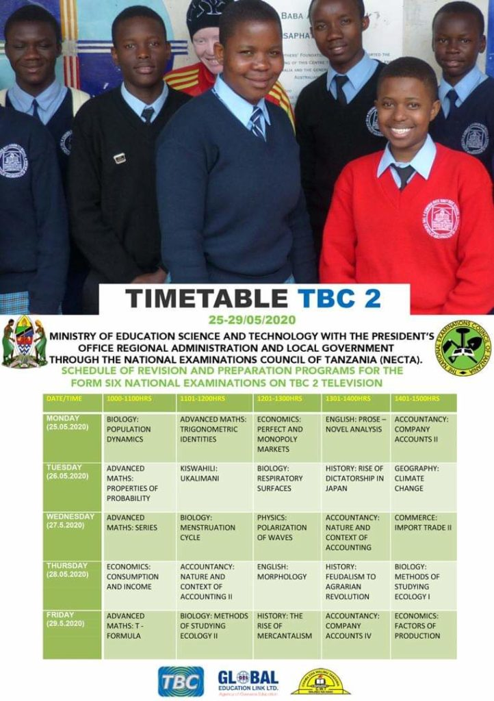 NECTA Form Six Revision Timetable 2020