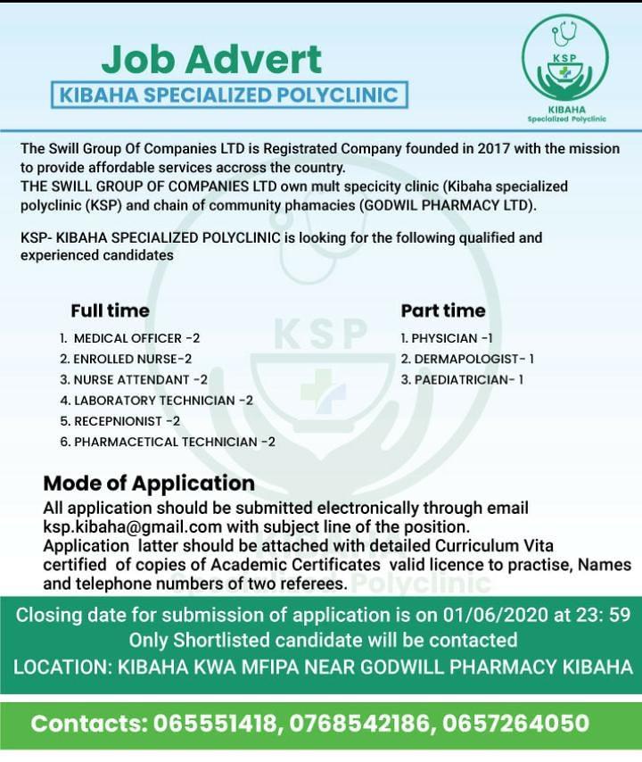 16 Job Vacancies At KIBAHA SPECIALIZED POLYCLINIC