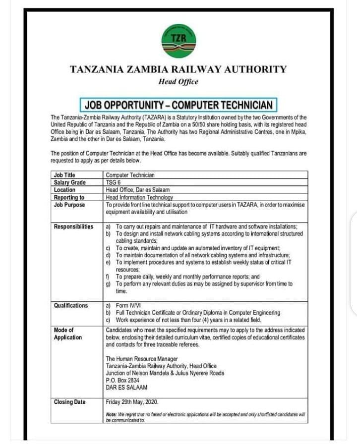 Job Opportunity Tazara