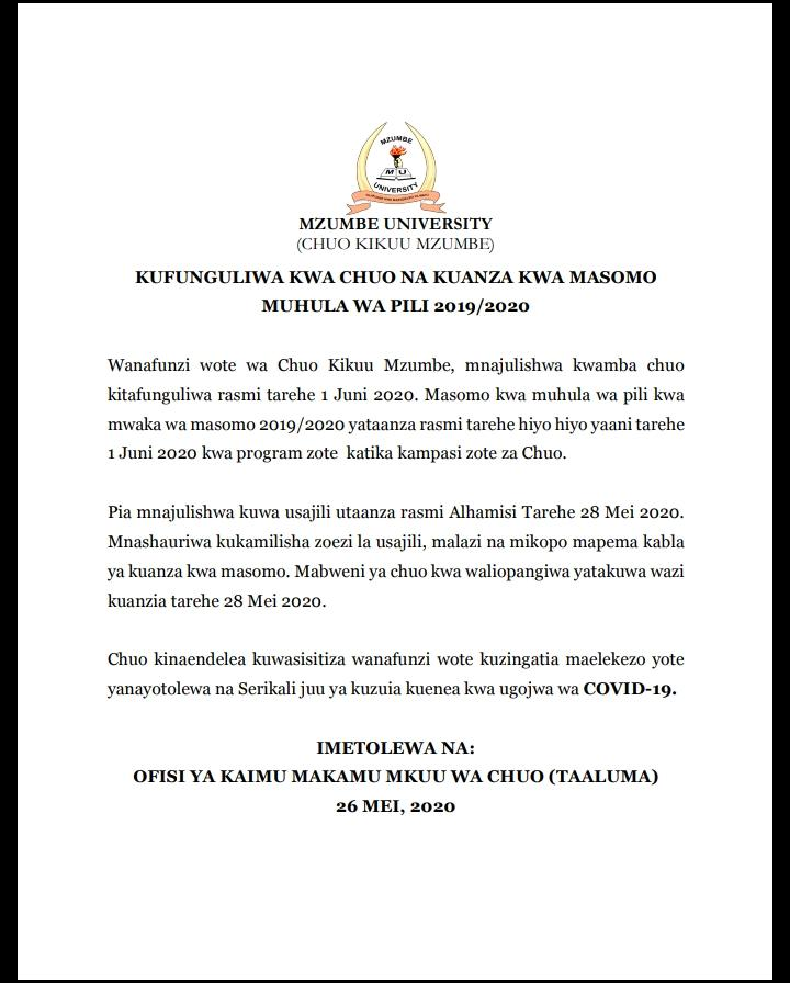 MZUMBE University Important NOTICE to Students, May 2020
