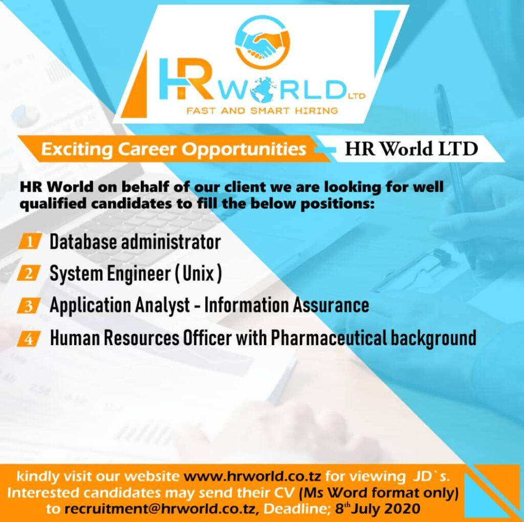 4 Job Vacancies At HR World Limited, July 2020