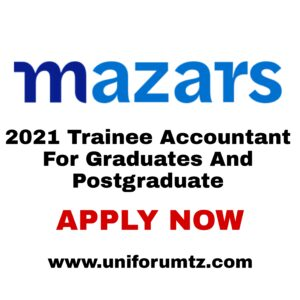 Mazars 2021 Trainee Accountant CA SA