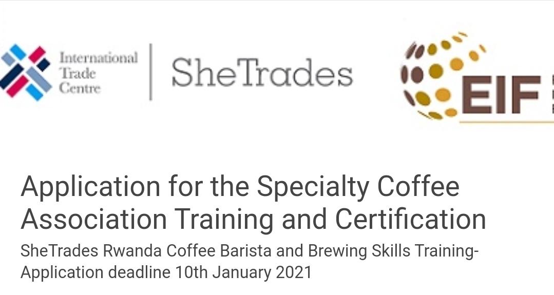 SheTrades Rwanda Coffee Barista and Brewing Skills Training