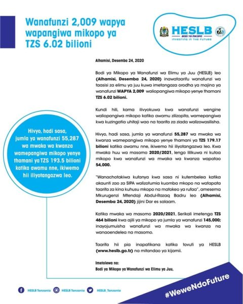 HESLB Locate Loan To 2009 New Students
