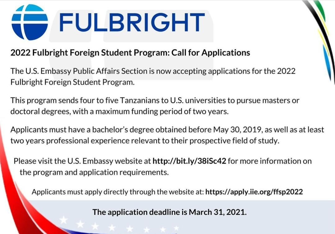 Fulbright Foreign Student Program 2022-2023 For Tanzanian