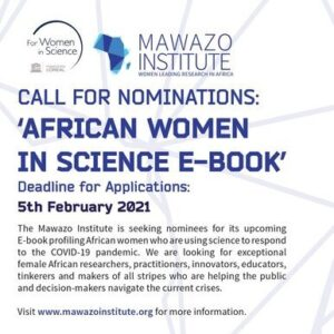 The Mawazo Institute Call for Nominations: African Women in Science E-Book 2021