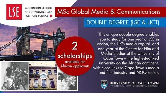 LSE/UCT Double Degree Masters Scholarships 2021/2022 (Fully Funded)