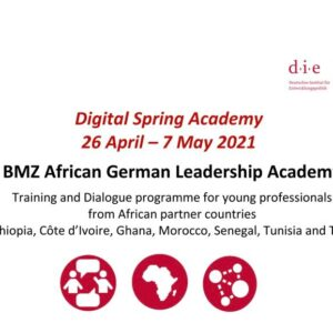 BMZ African German Leadership Academy 2021 Training and Dialogue programme for young professionals