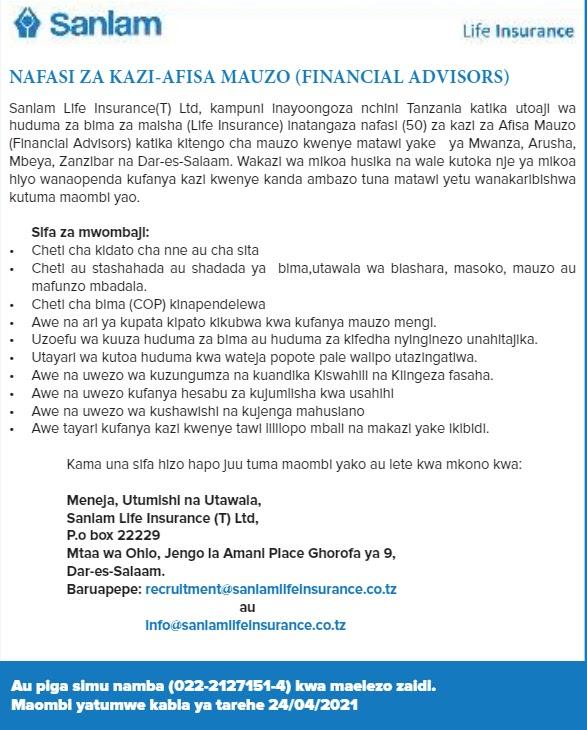 Afisa Mauzo At Sanlam Life Insurance (50 POSTS)