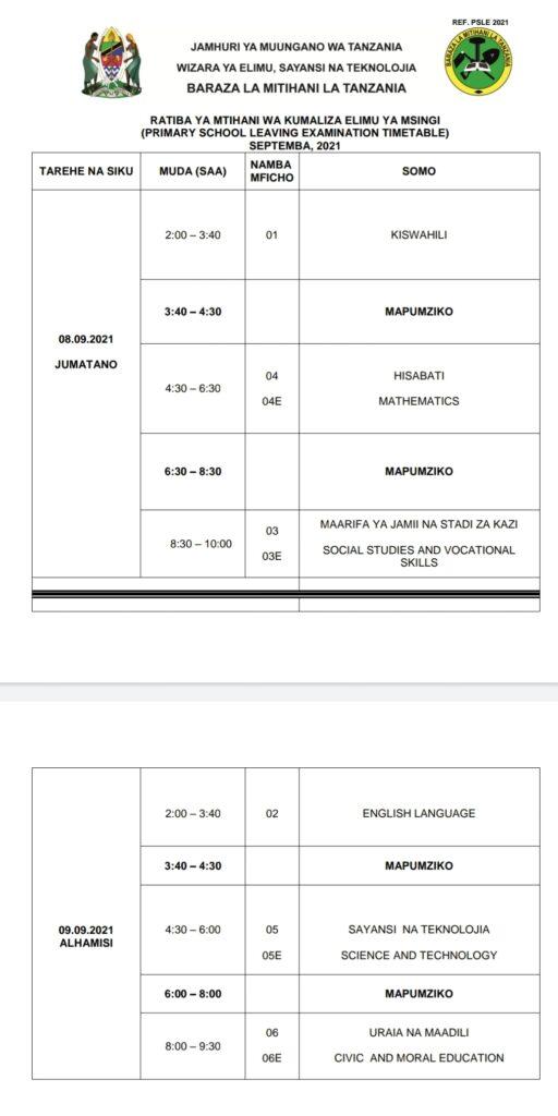Ratiba Ya Mtihani Darasa la Saba 2021/2022 | PLSE Examination Timetable 2021