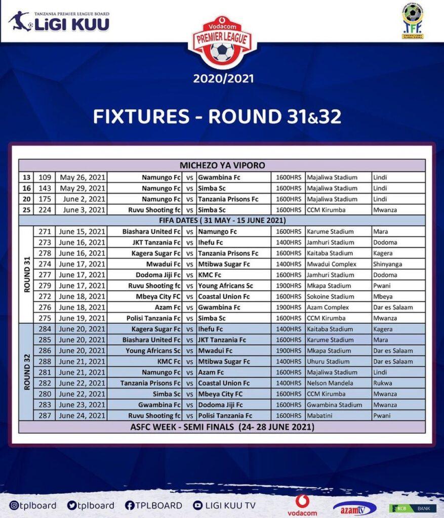 Ratiba Ya VPL 2020/2021 | VPL Timetable, VPL Fixtures 2020/2021