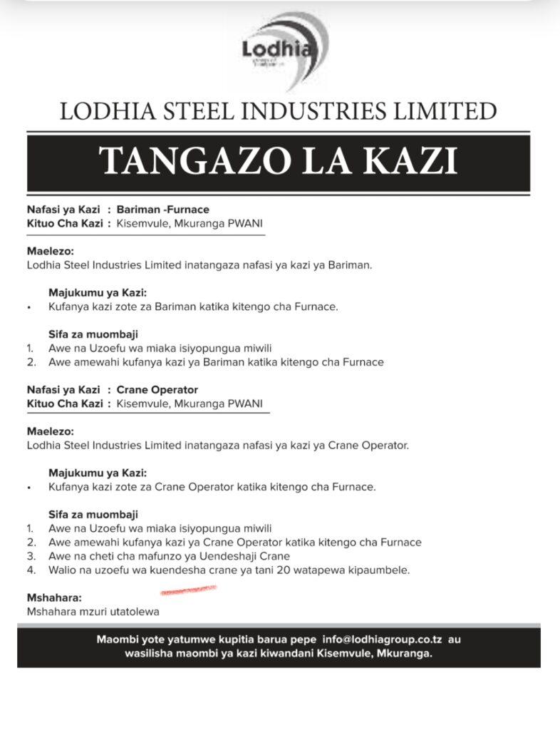 Job Opportunity At Lodhia Group Mkuranga,