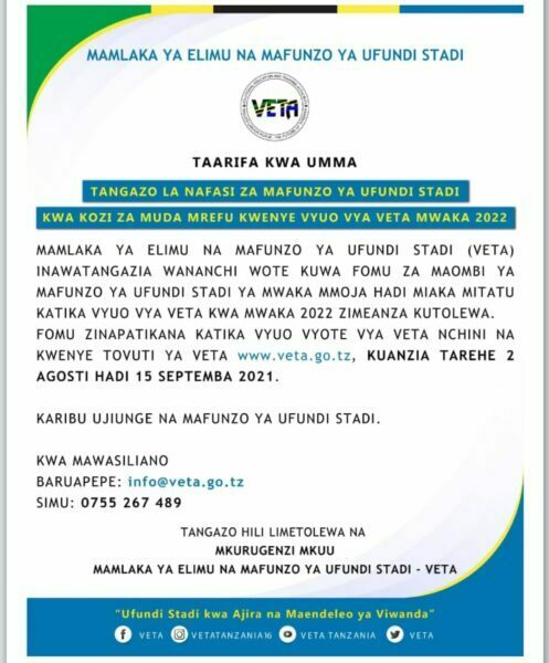 Vocational Training Opportunities At VETA Colleges 2022