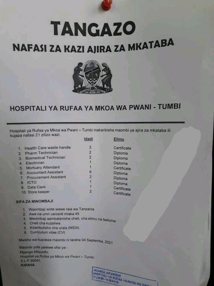 21 Contract Jobs At Tumbi Regional Referral Hospital