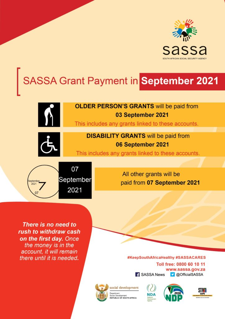 "Sassa Payment Dates For September 2021 ""Confirmed"""