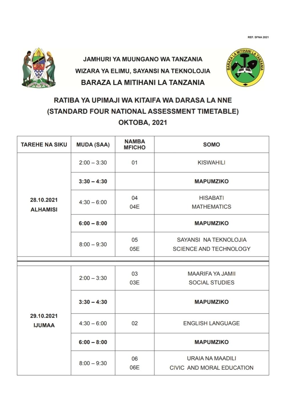 SFNA Examination Timetable 2021   Ratiba Ya Darasa La Nne