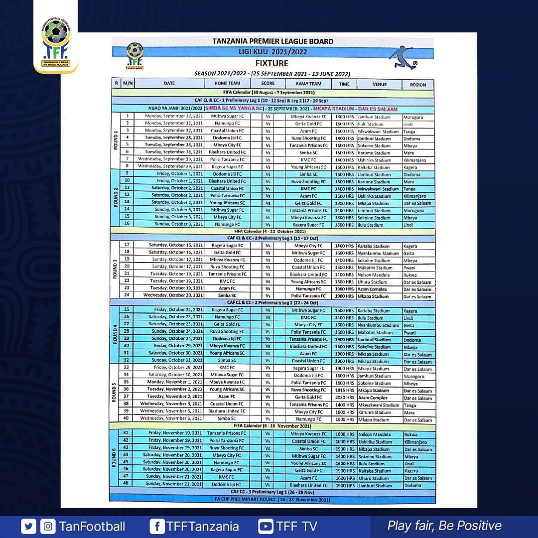 Ratiba Ya VPL 2021/2022   VPL Timetable, VPL Fixtures 2021/2022