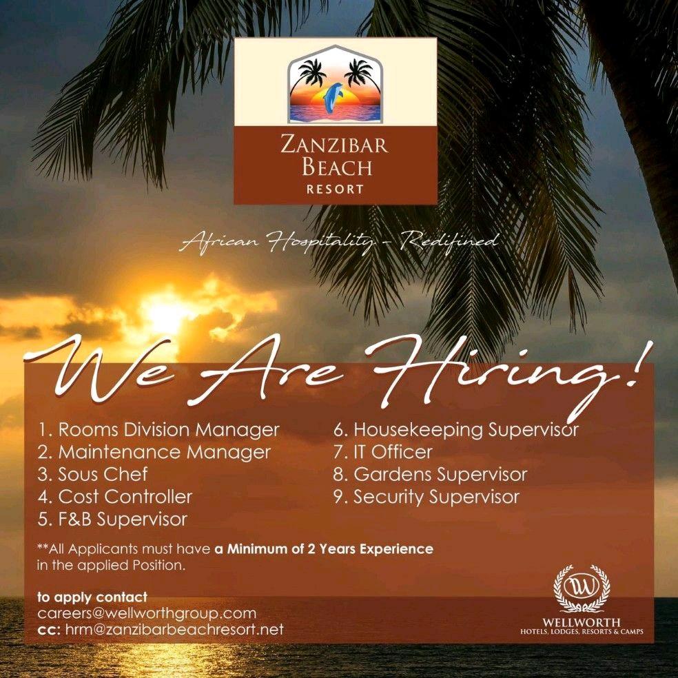 Job Opportunities At Zanzibar Beach Resort